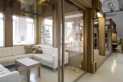 Interior Design Ideas For Home Office Space With Modern Sliding Glass Door  And White Leather Sofa