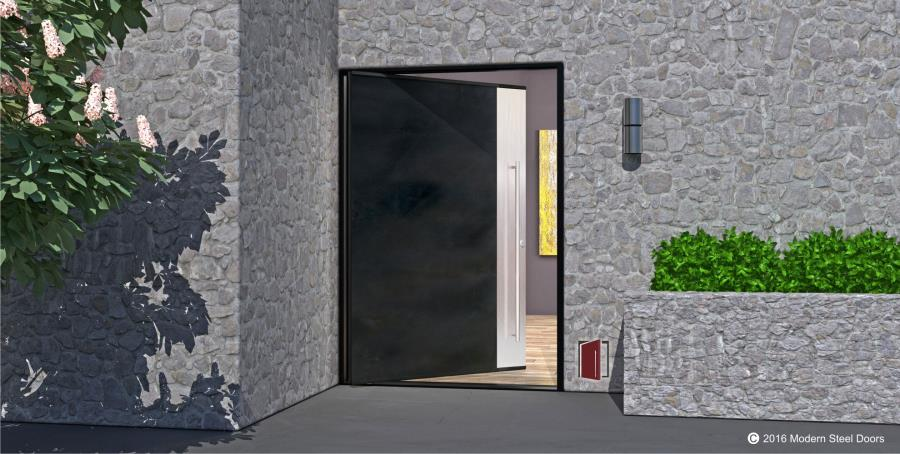 2 Vertically Paneled Blackened Stainless Metal Door with Brushed Stainless Vertical Accent Panel metal safety door designs.html