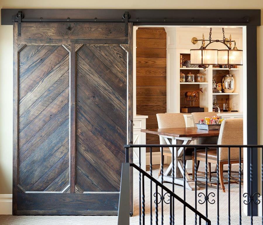 Custom designed barn door for the traditional home workspace and library modern sliding barn door designs.html