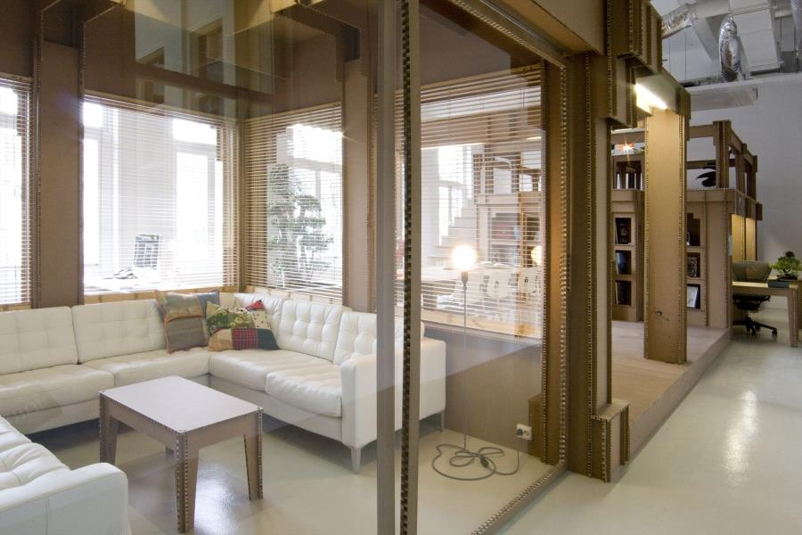 Interior Design Ideas For Home Office Space With Modern Sliding Glass Door And White Leather Sofa Set office entrance door design.html