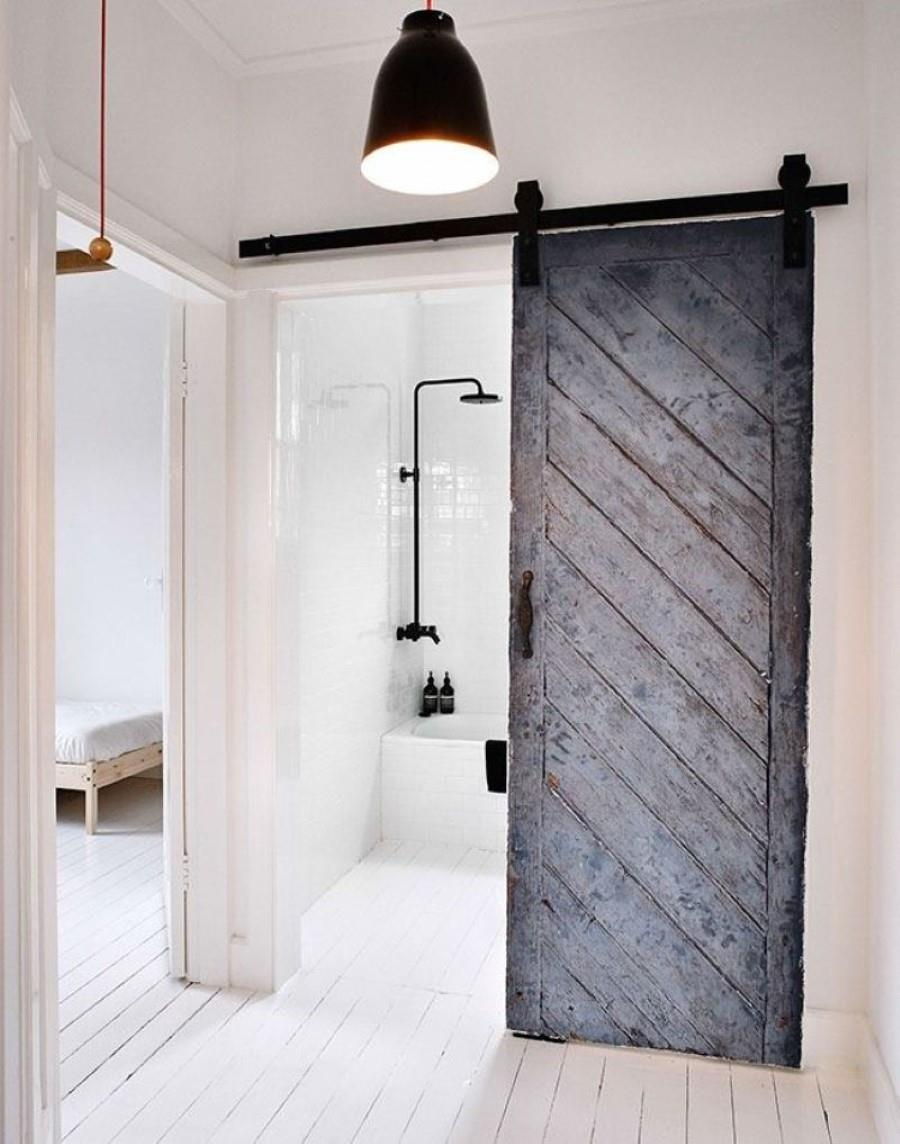 Marvelous Design Of The Modern Barn Doors With White Wall Added With Black Wooden Sliding Door Ideas hinged barn door designs.html