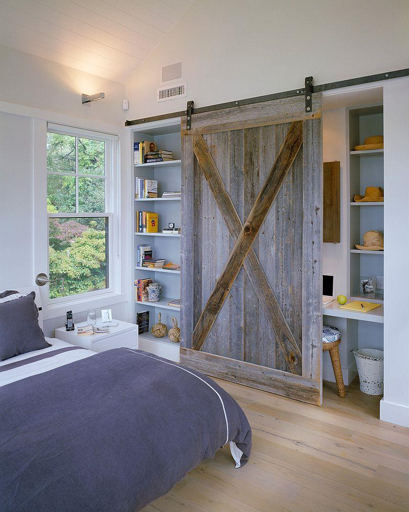 Reclaimed barn wood door for the bedroom shelf and office nook modern interior barn door designs.html